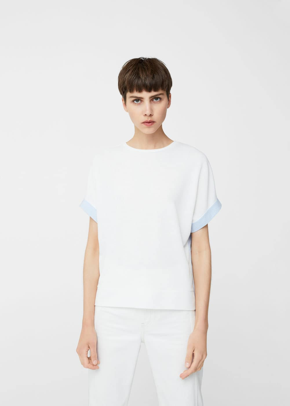 Striped contrast t-shirt | MANGO