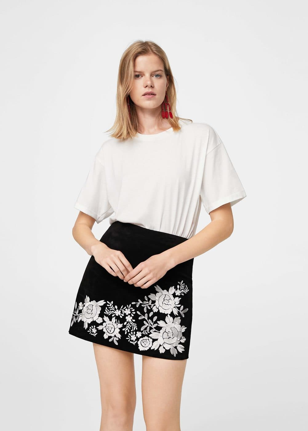 Embroidery suede skirt | MANGO