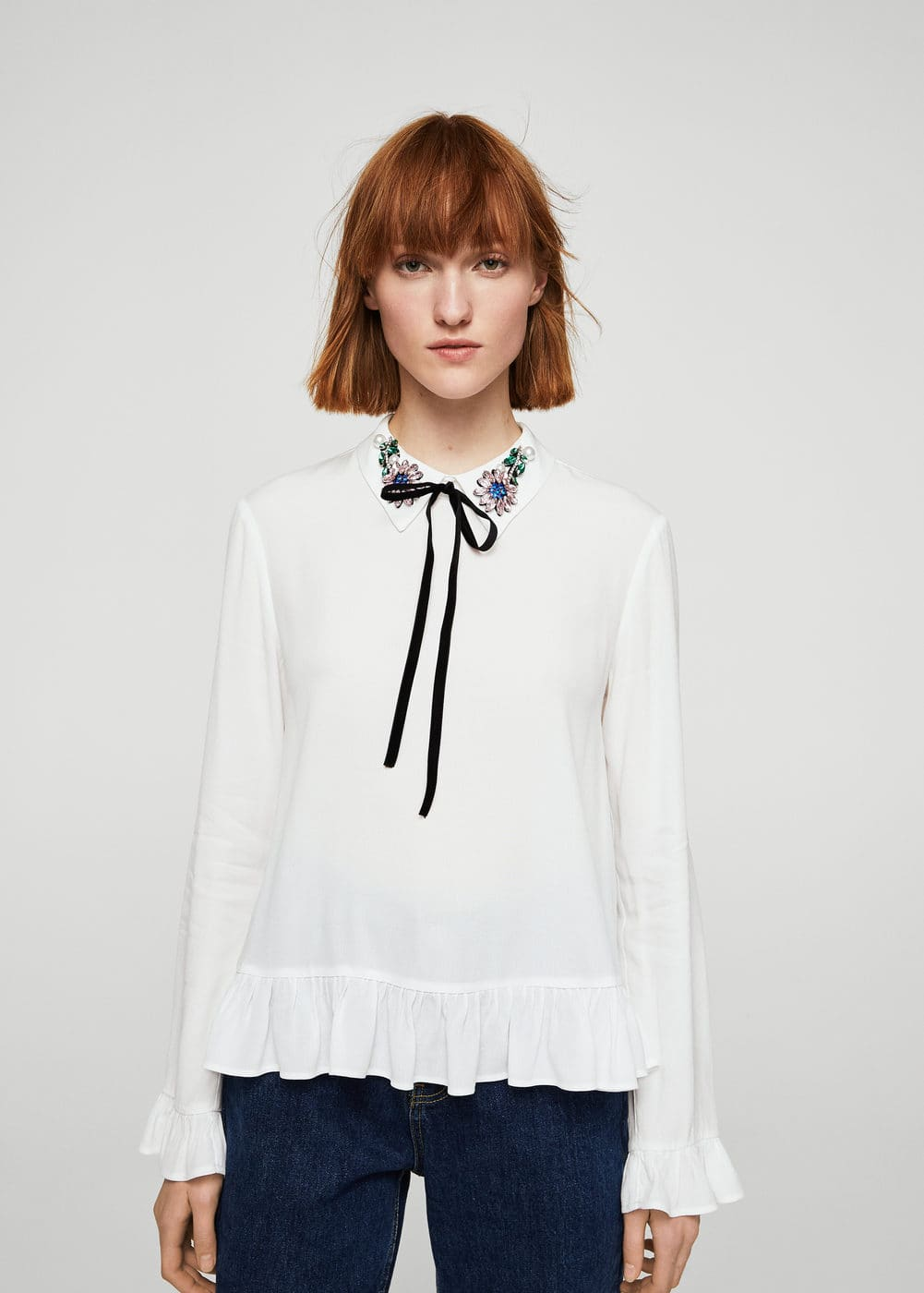 Beads bow blouse | MANGO