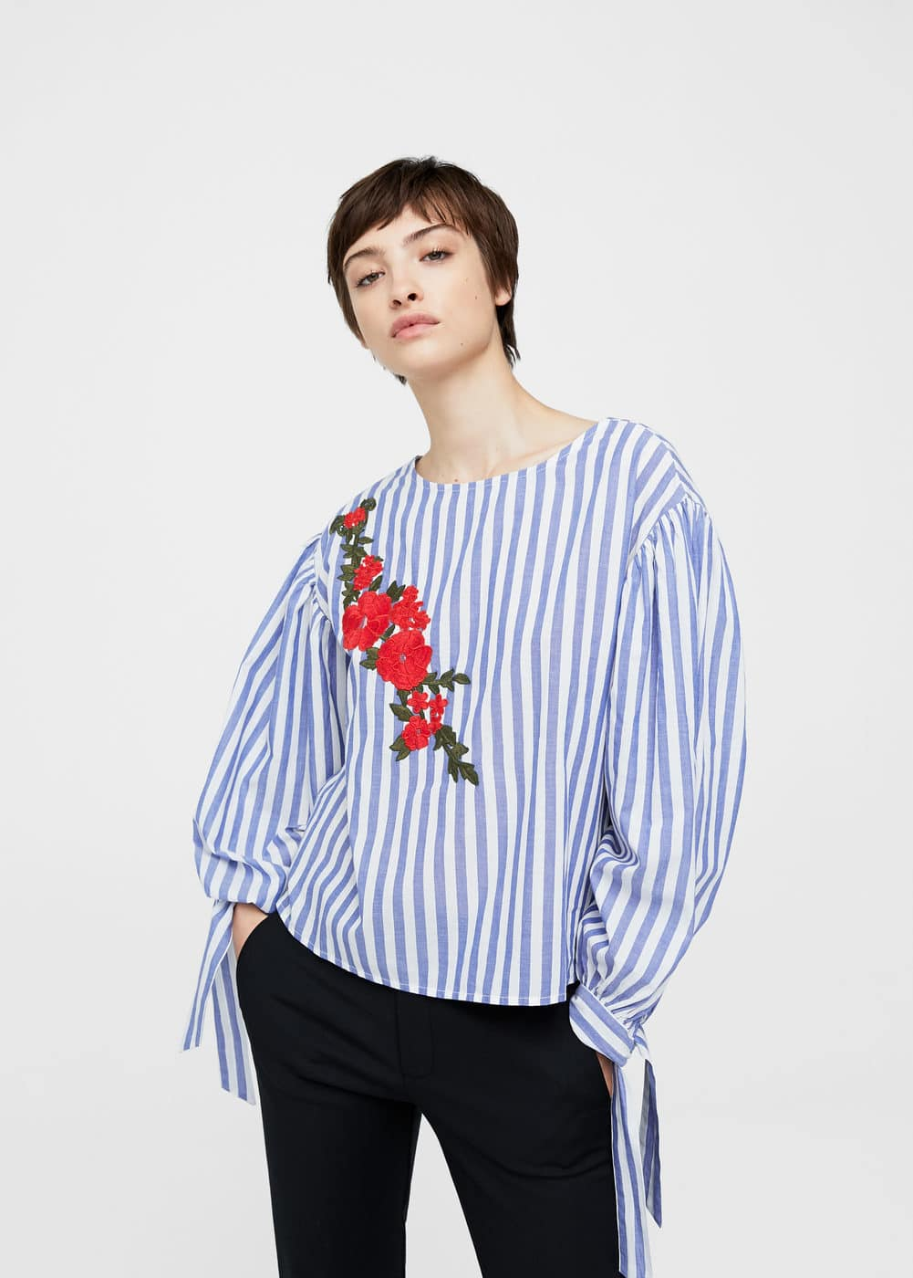Striped embroidery blouse | MANGO
