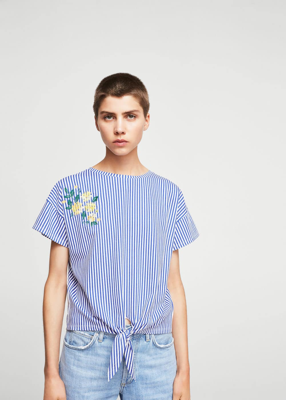 Embroidery striped t-shirt | MANGO