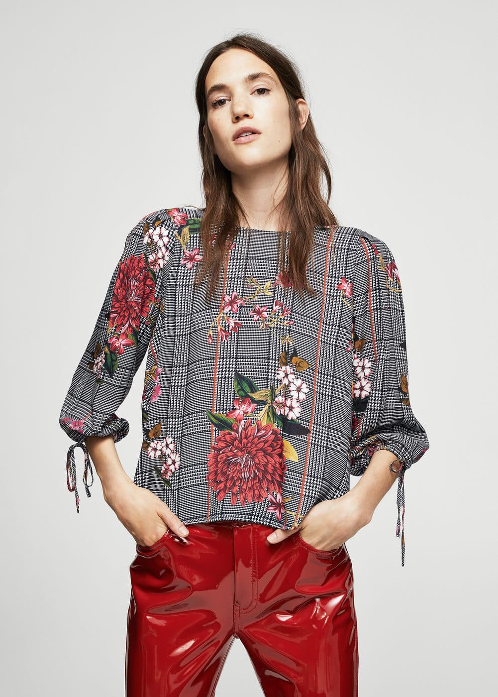 Floral prince of wales blouse | MANGO