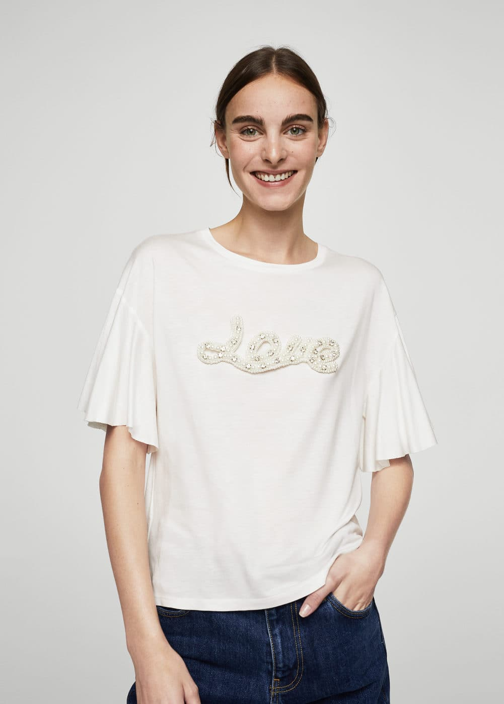 Pearls message t-shirt | MANGO