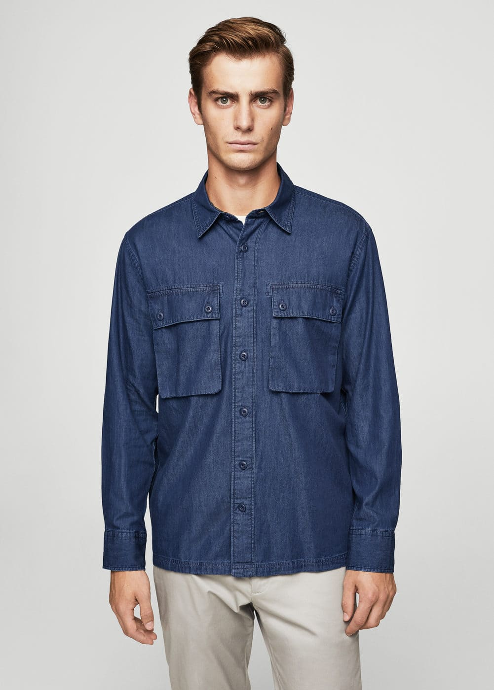 Camisa regular-fit denim fosc | MANGO