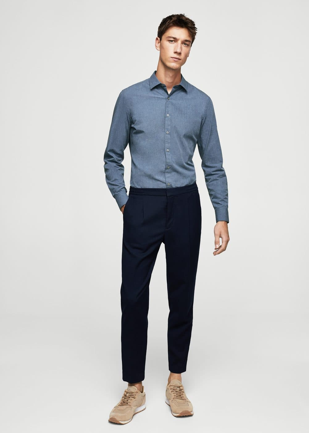 Slim-fit cotton shirt | MANGO MAN