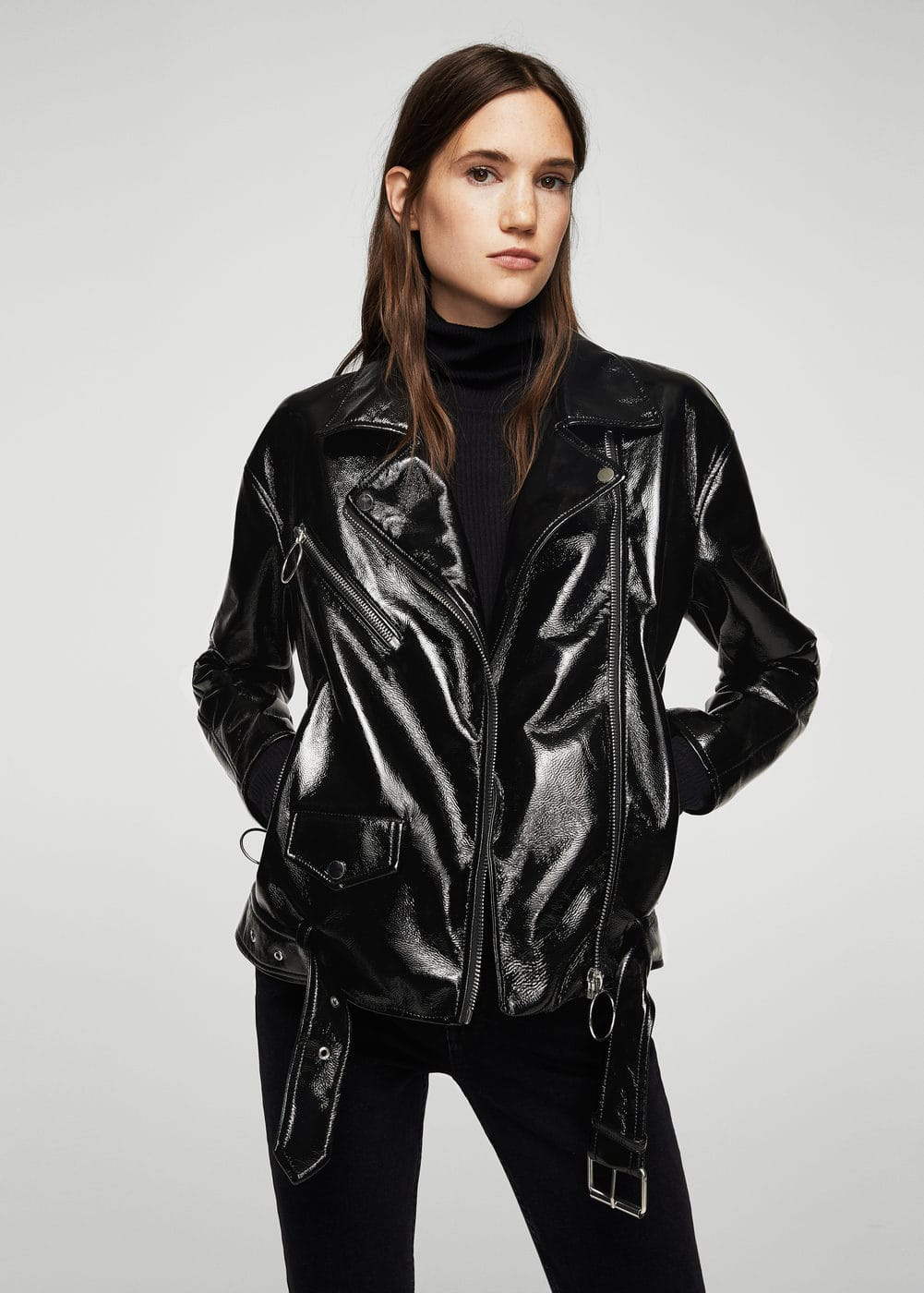 447056f50be Vinyl biker jacket - Women