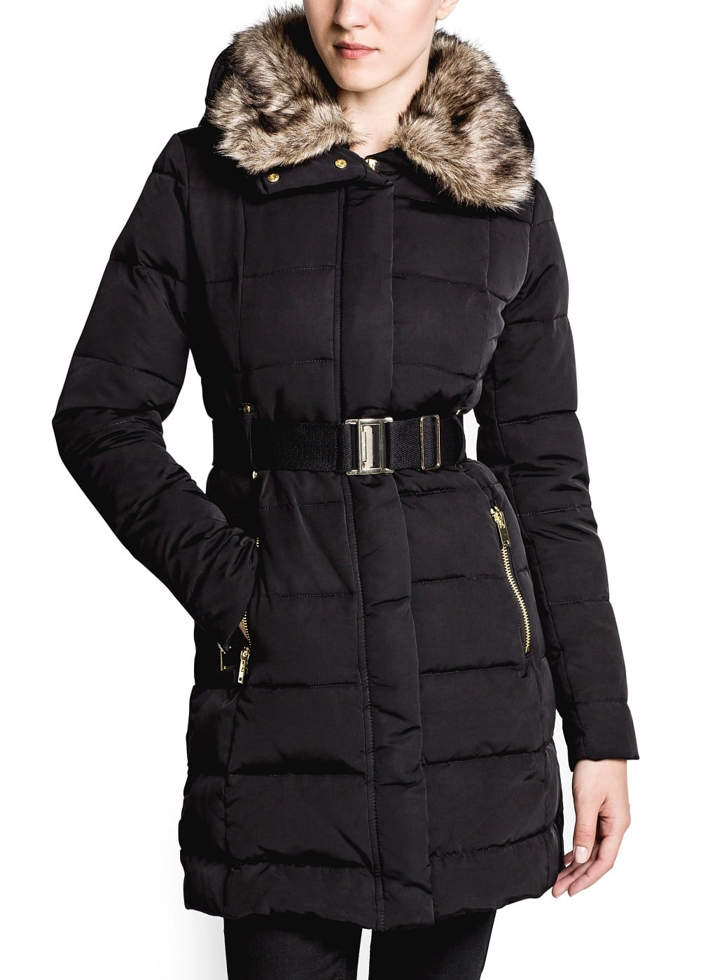 Belted feather down long coat | MANGO