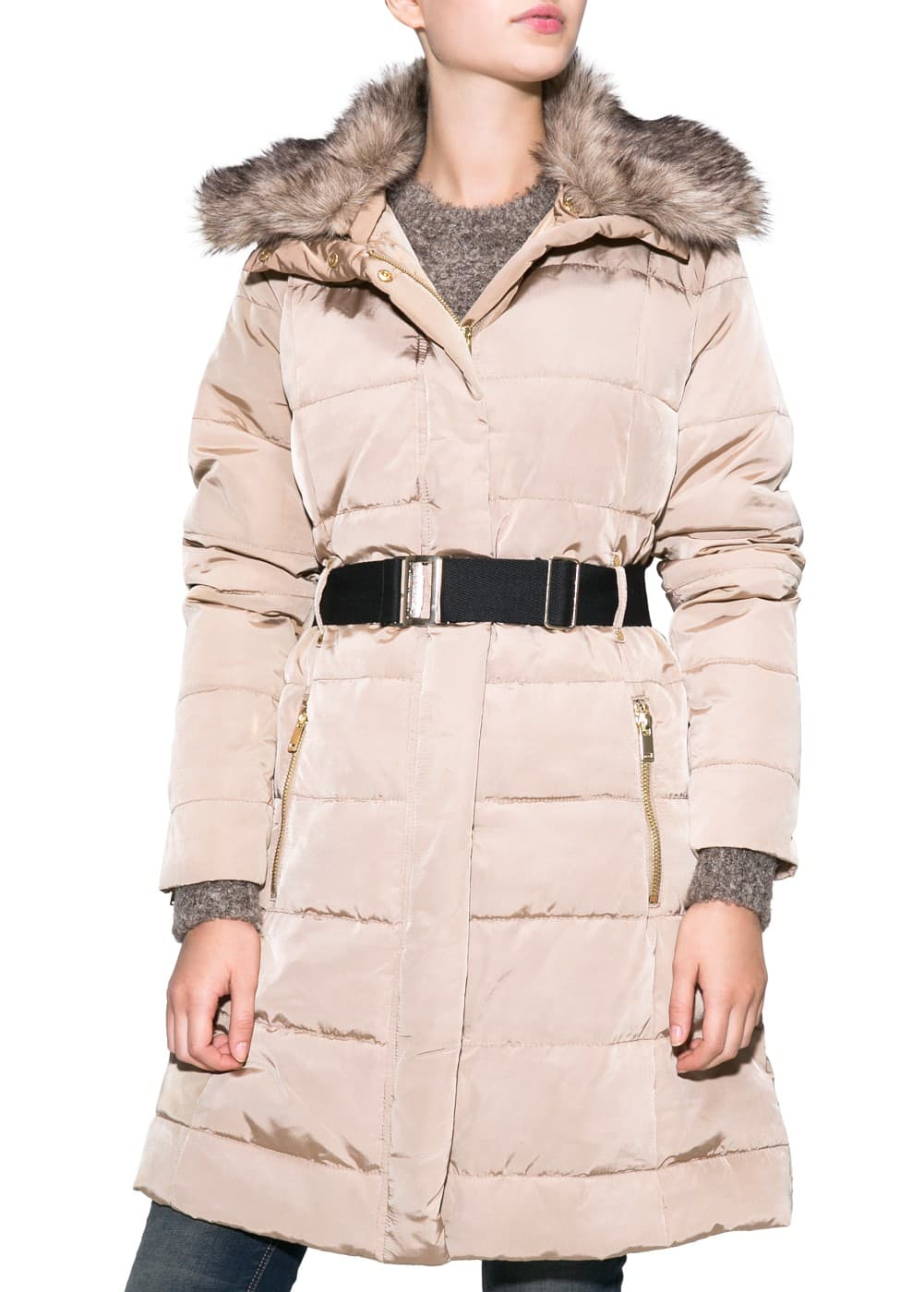 Belted feather down long coat - Woman | MANGO United Kingdom