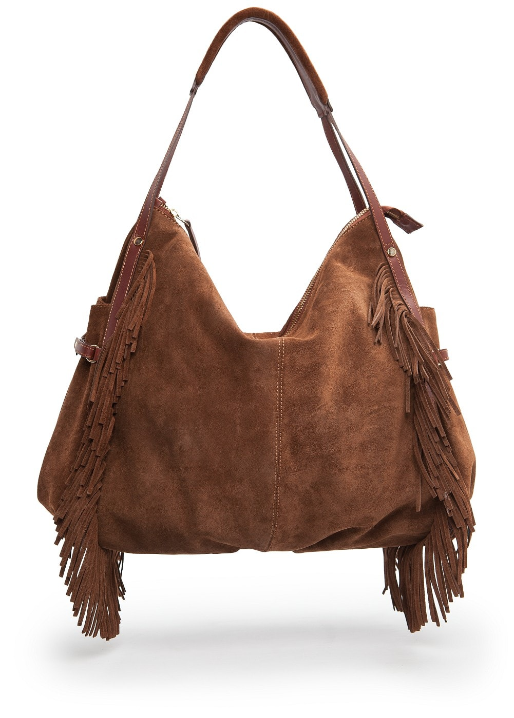 Fringed suede hobo bag | MANGO