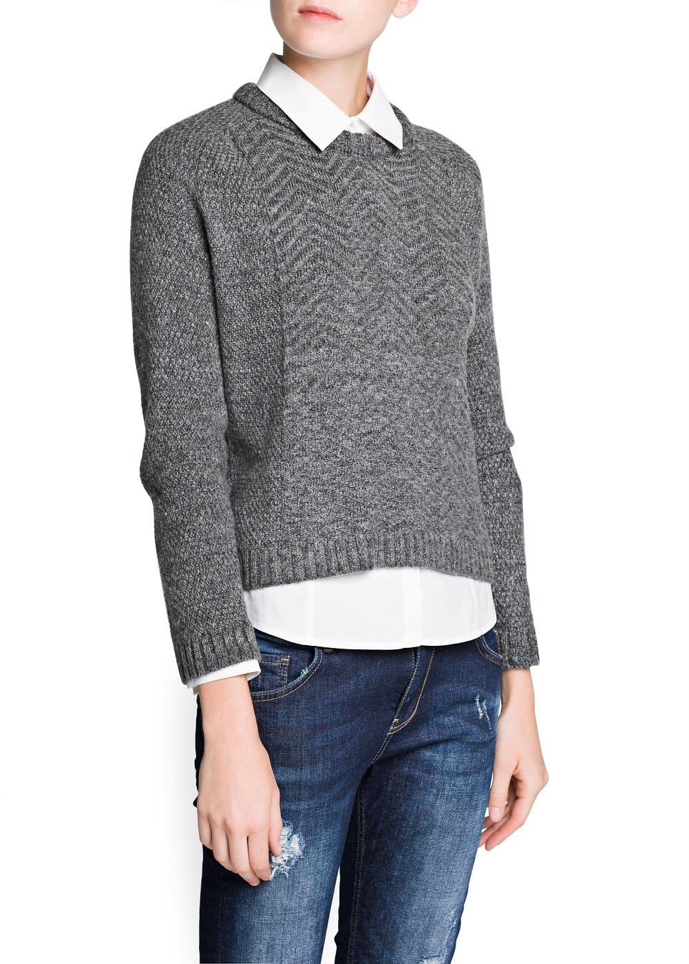 Zigzag cotton-blend sweater | MANGO