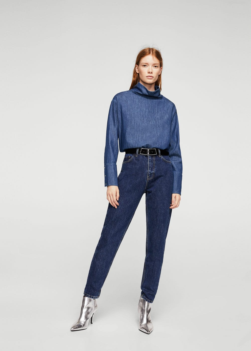 Funnel neck denim blouse | MANGO