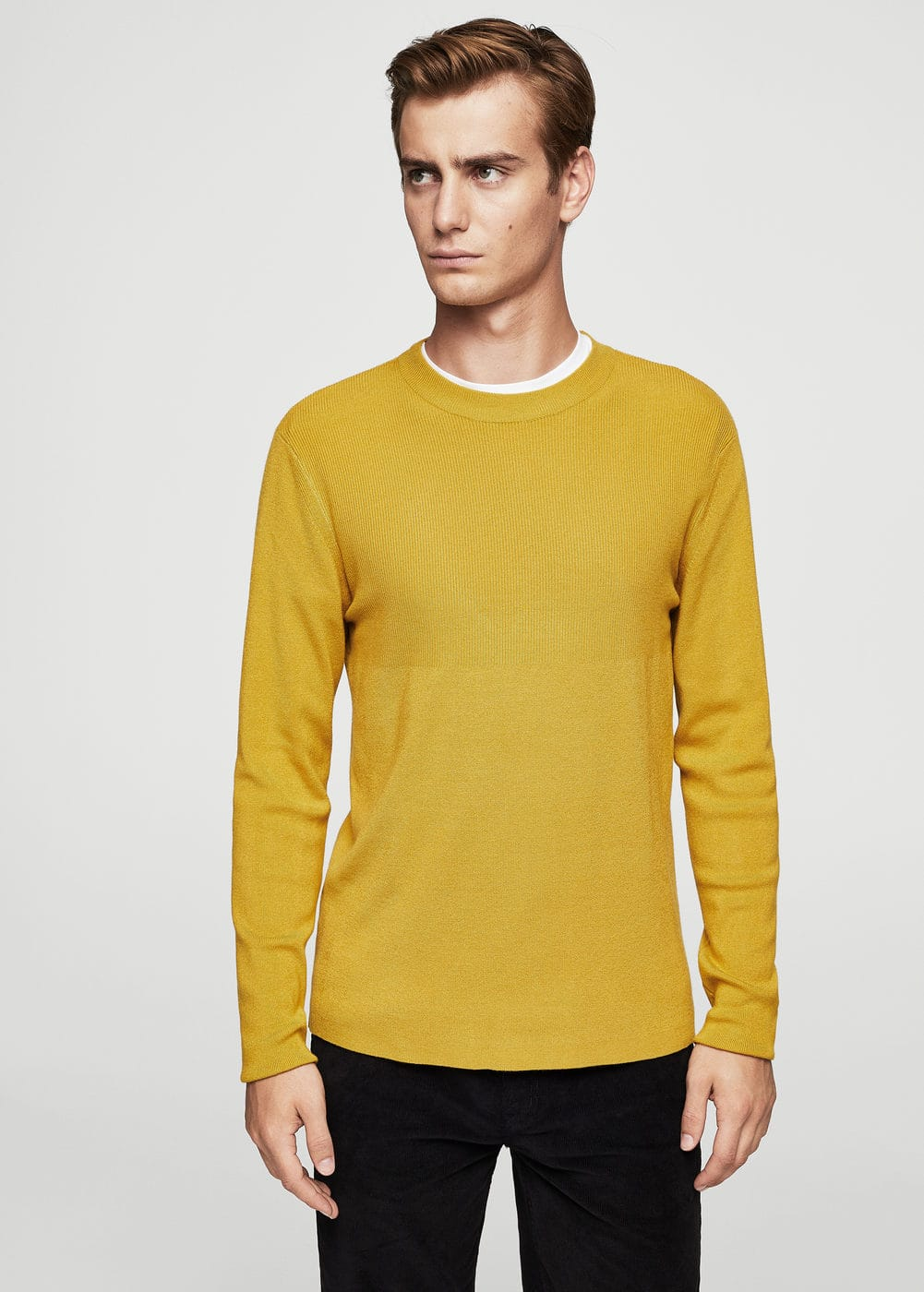 Ribbed detail sweater | MANGO MAN