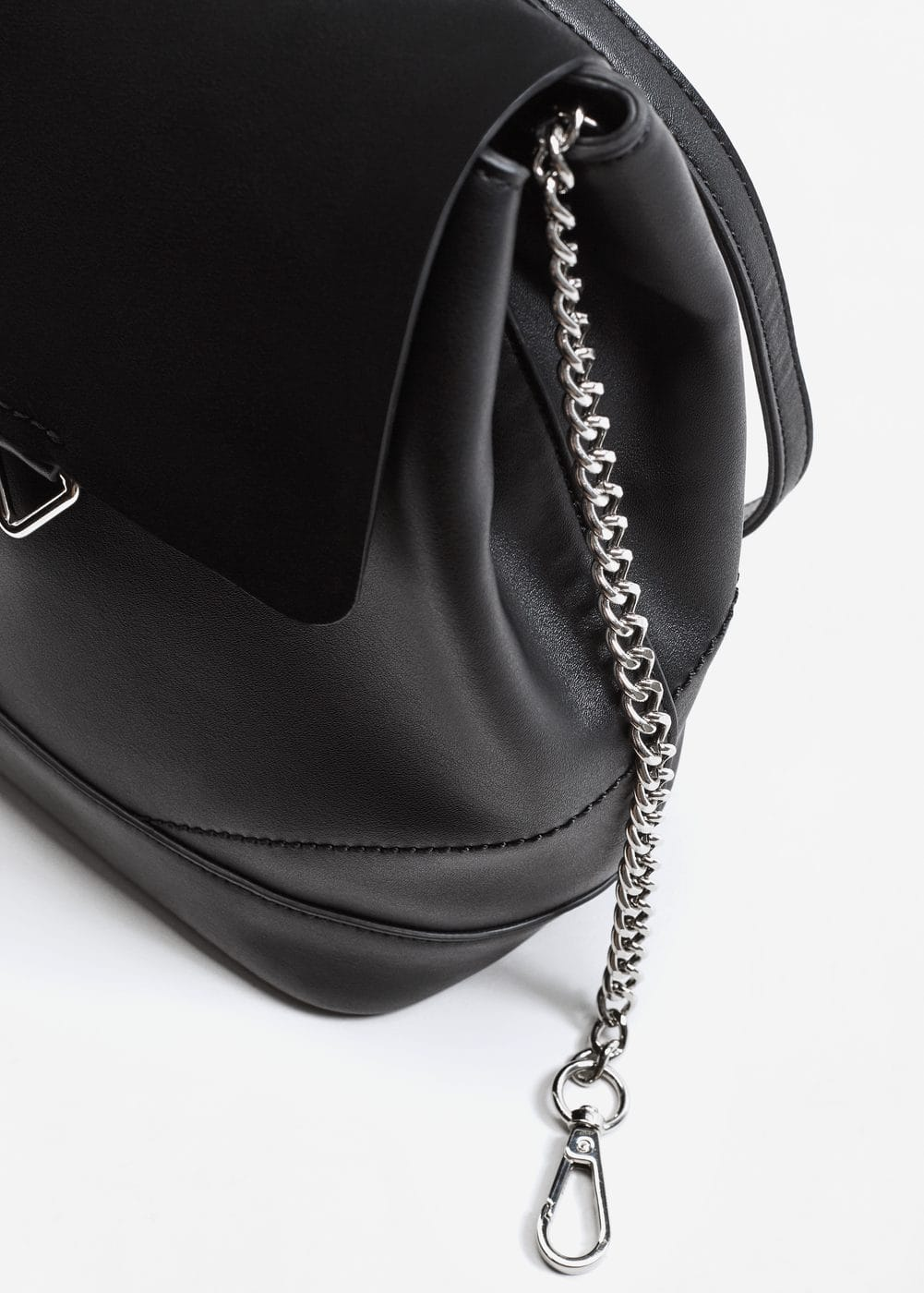 Leather mixed backpack | MANGO