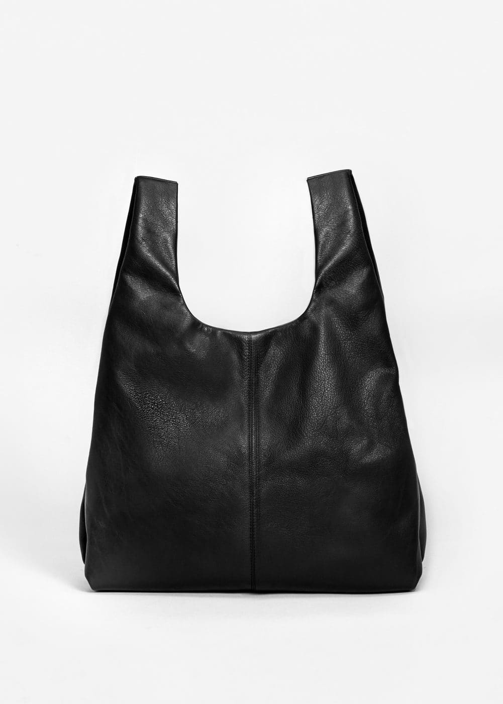 Shopper-bag aus leder | MANGO