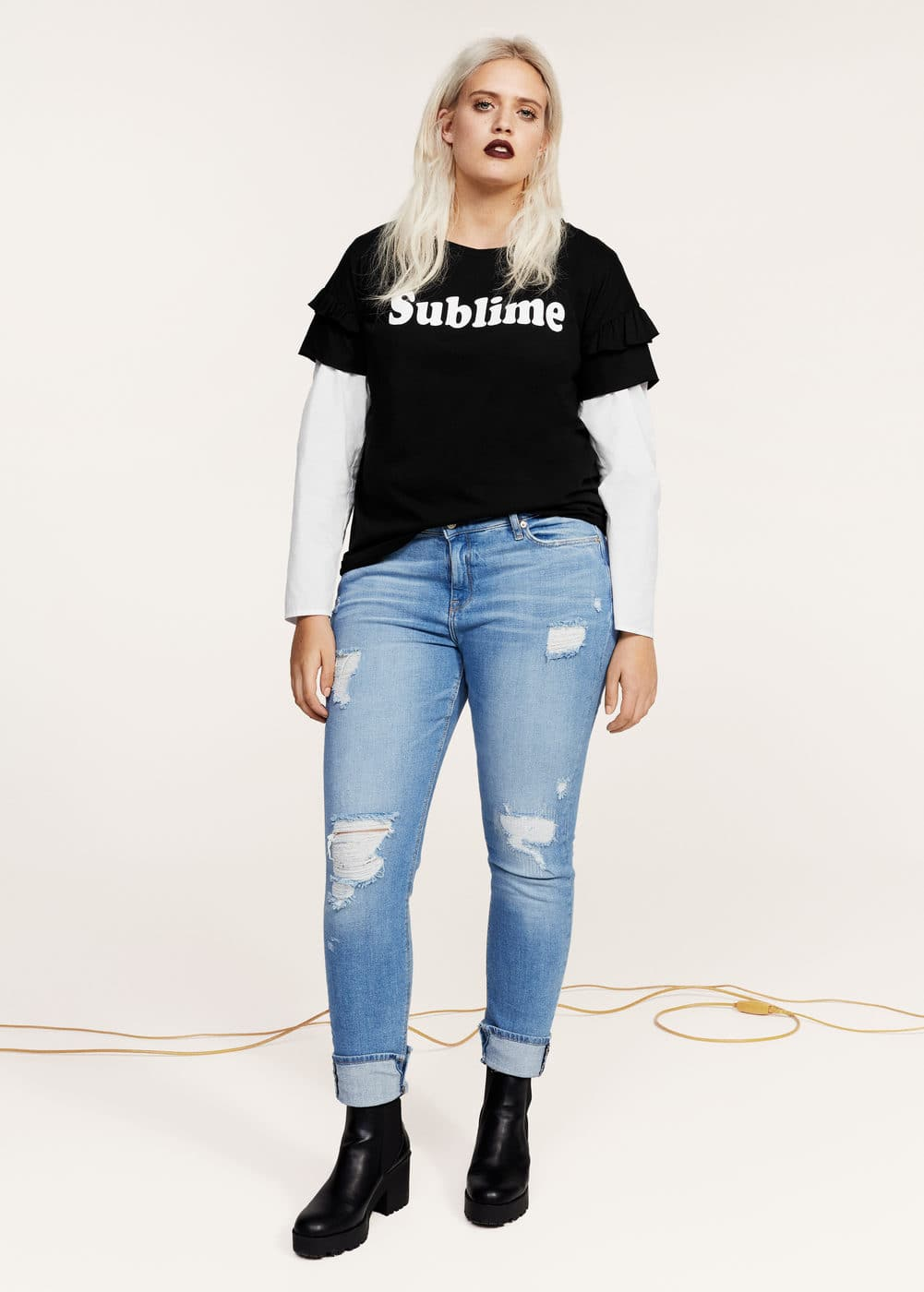 Ruffled message t-shirt | MANGO