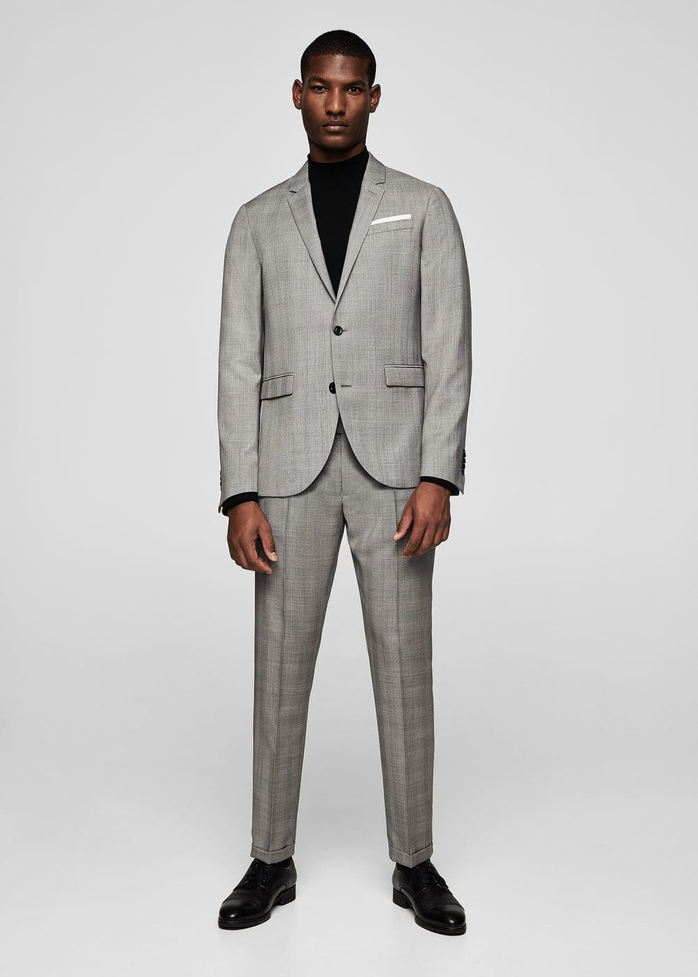 Slim-fit check wool suit trousers | MANGO MAN