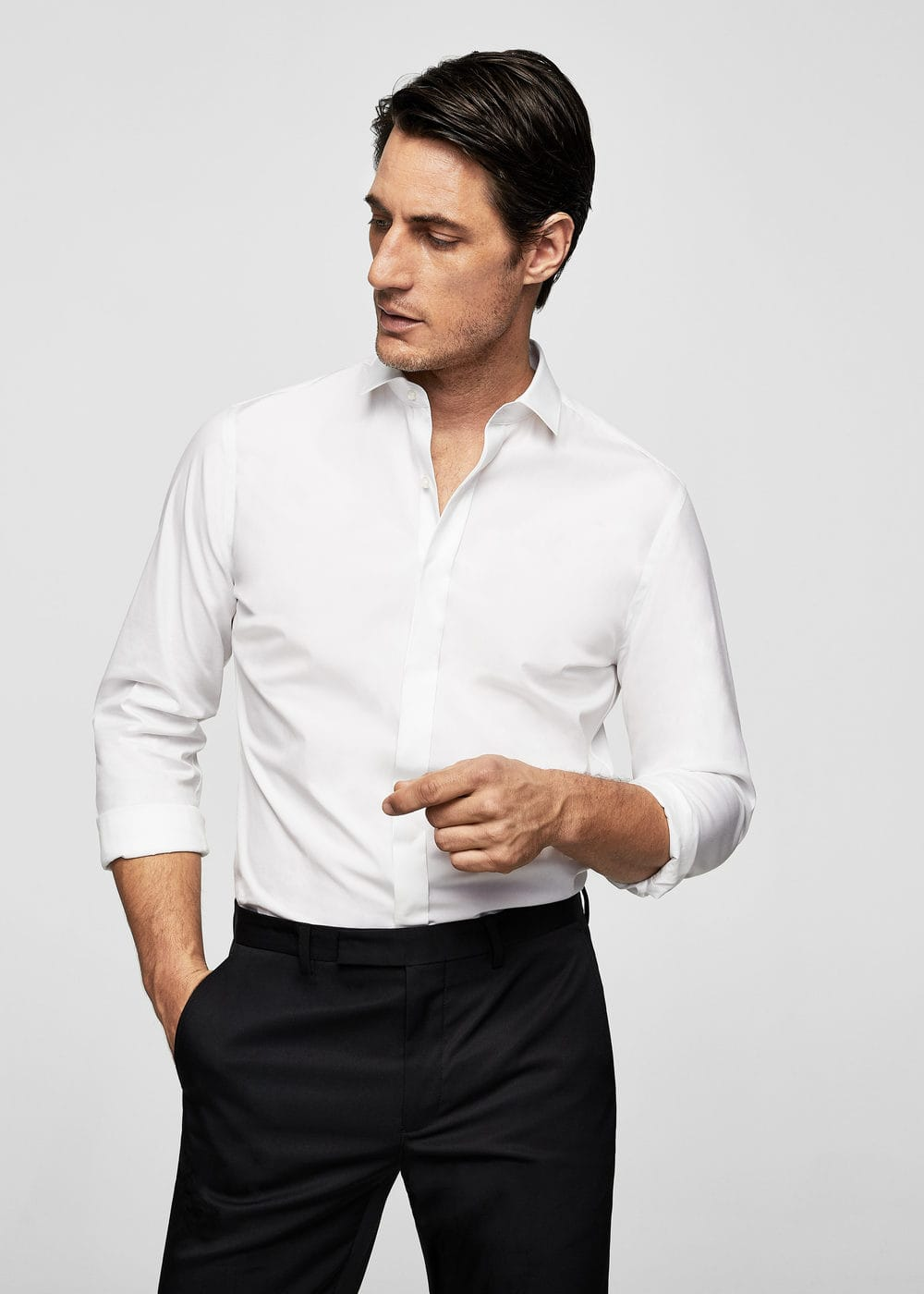 Slim-fit tailored stretch cotton shirt | MANGO
