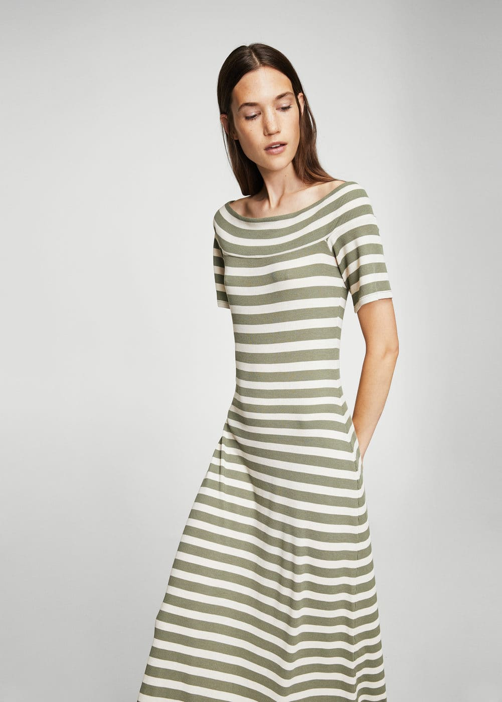 Striped ribbed dress | MANGO
