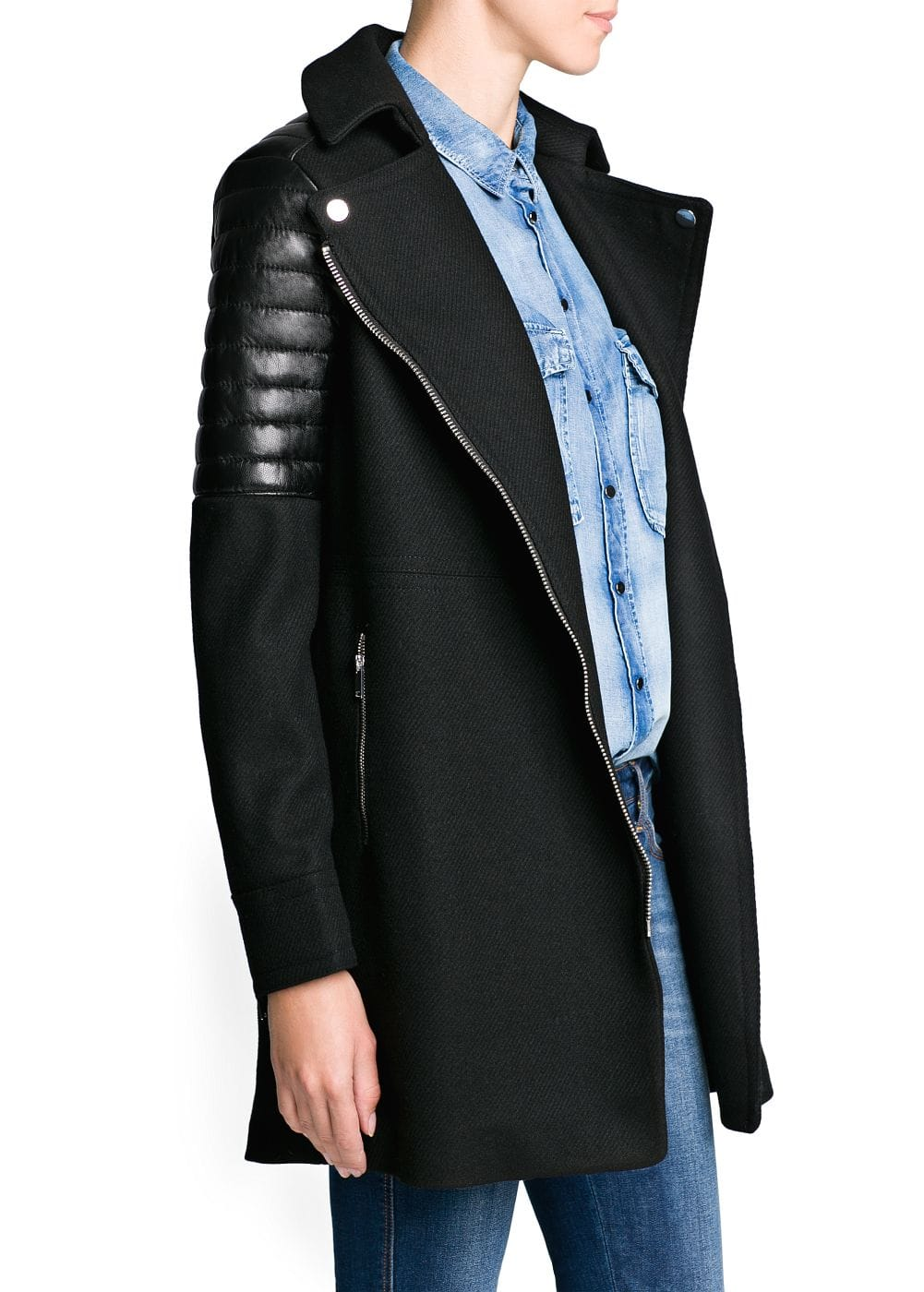 Leather appliqué biker coat | MANGO