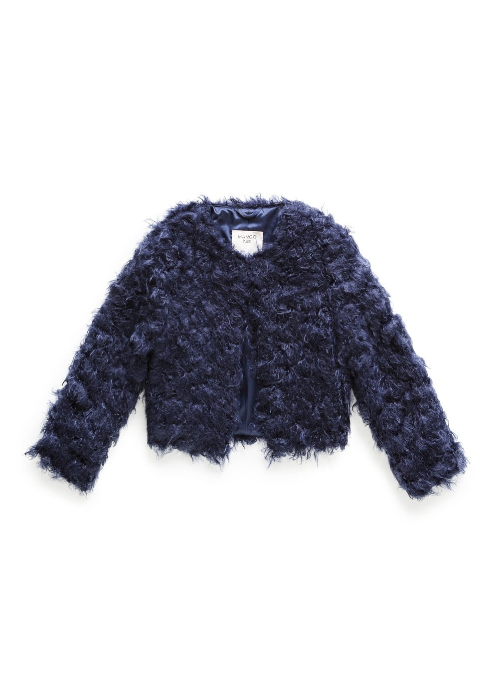 Round neck faux fur coat | MANGO KIDS