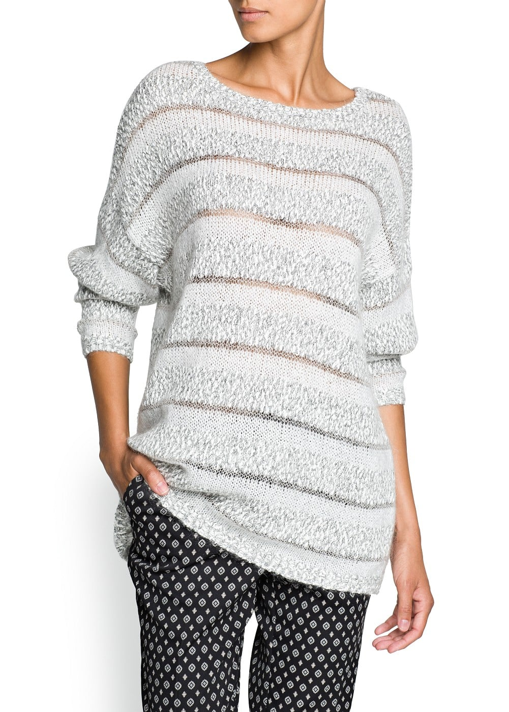 Mohair cotton-blend striped sweater | MANGO
