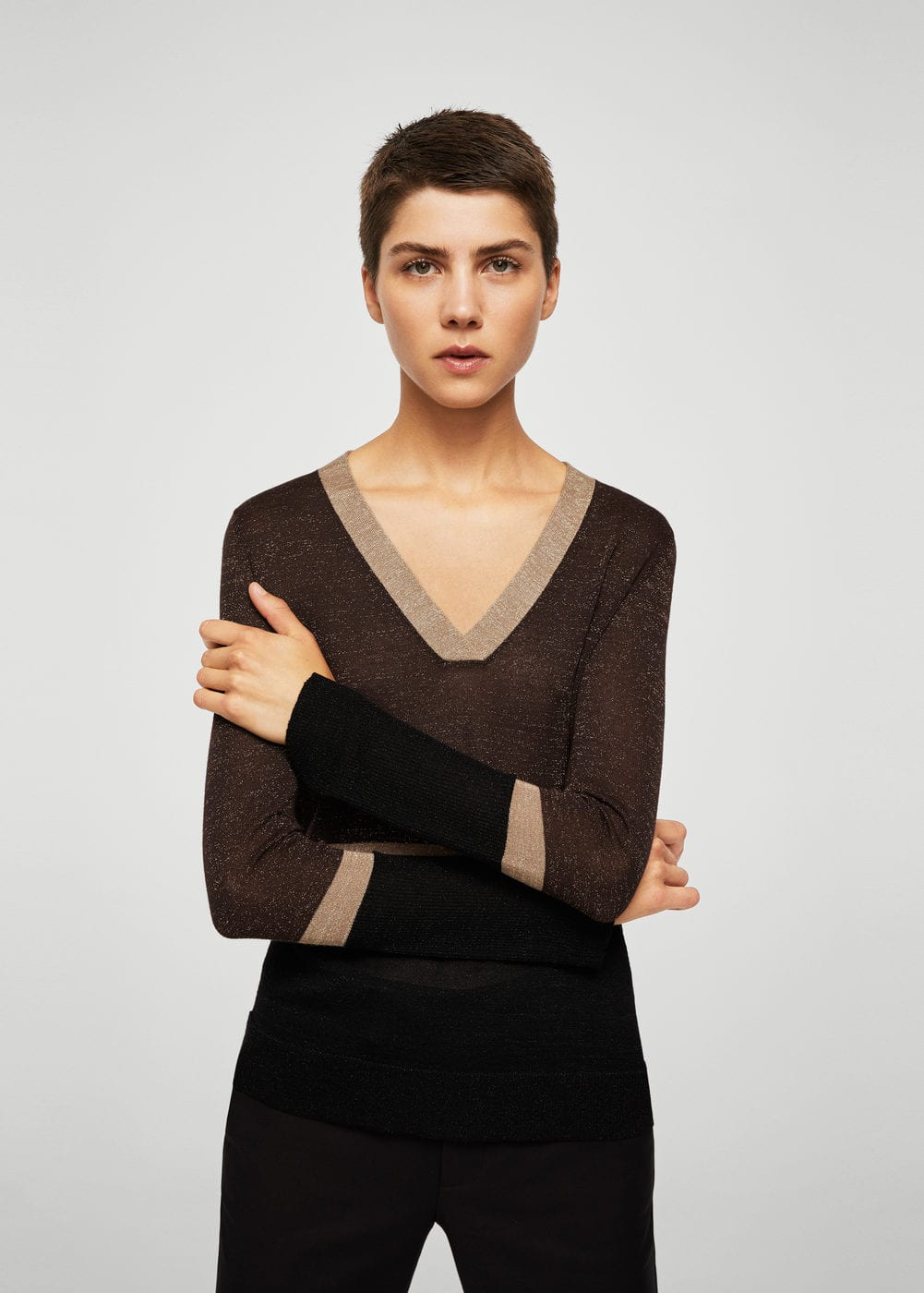 Fine-knit metallic sweater | MANGO
