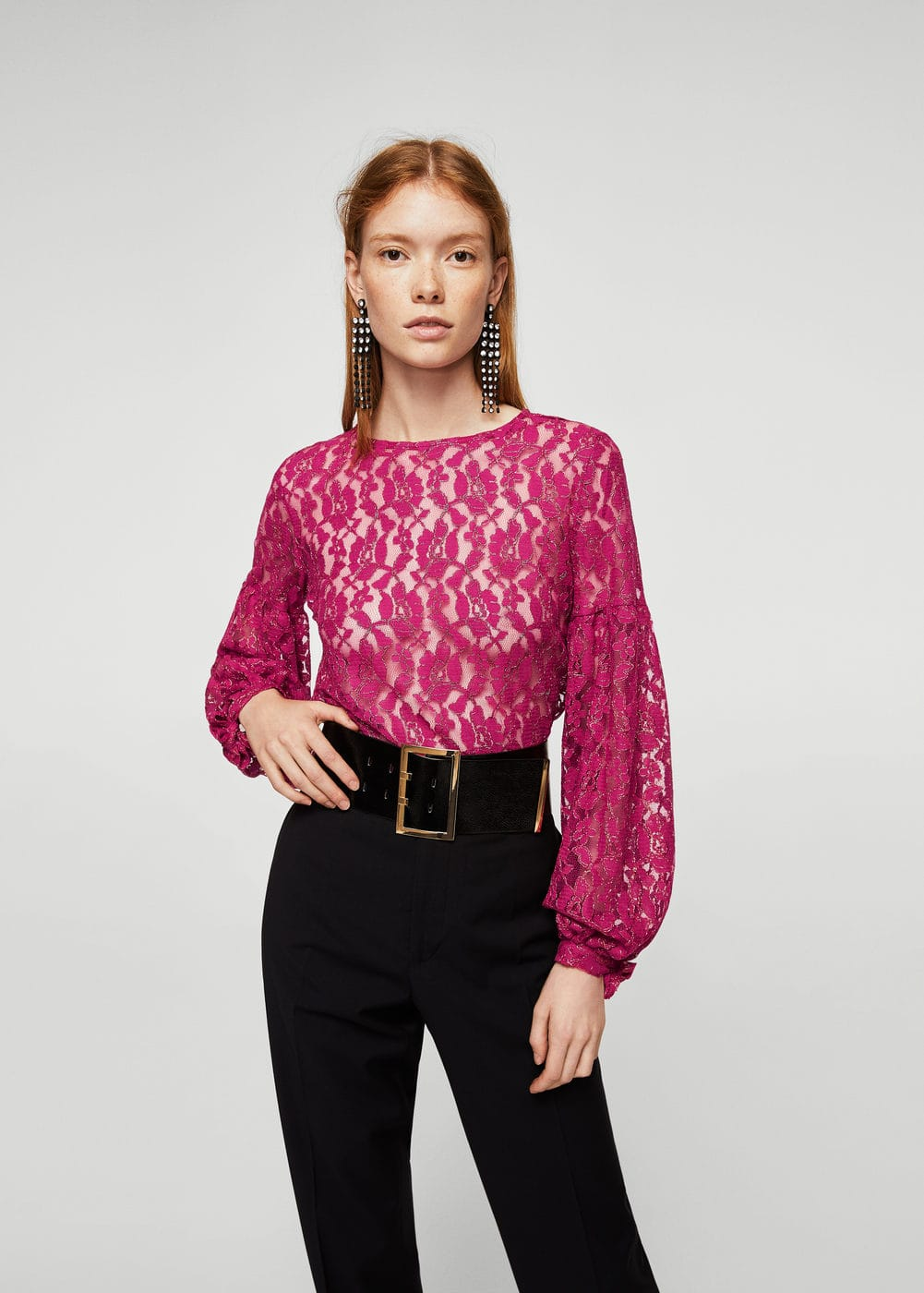 Metallic lace blouse | MANGO