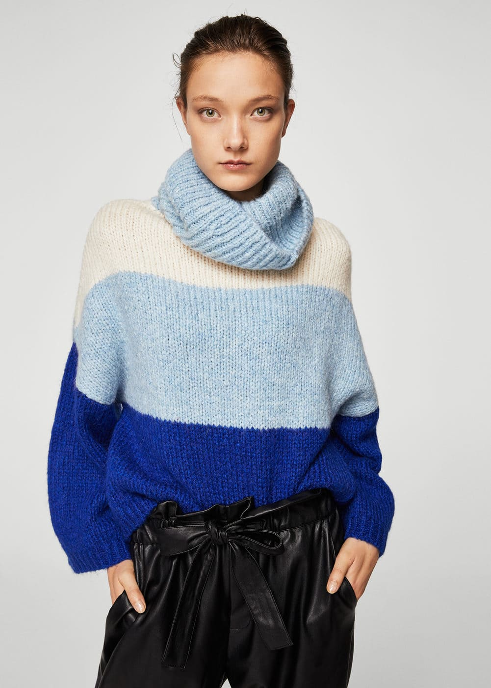 Stand-collar striped sweater | MANGO
