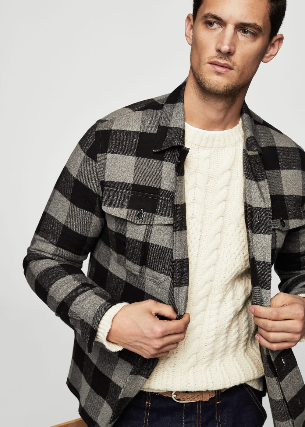 Regular-fit checked flannel shirt | MANGO MAN