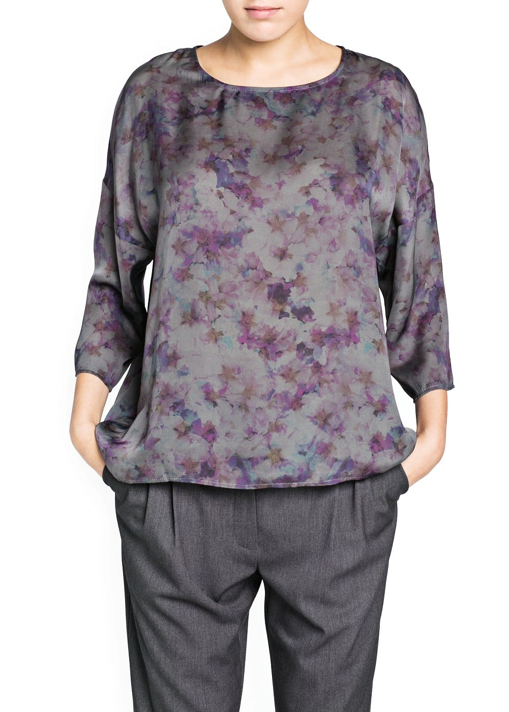 Watercolor print flowy blouse | MANGO