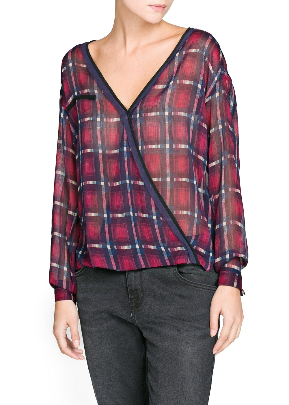 Check wrap blouse | MANGO