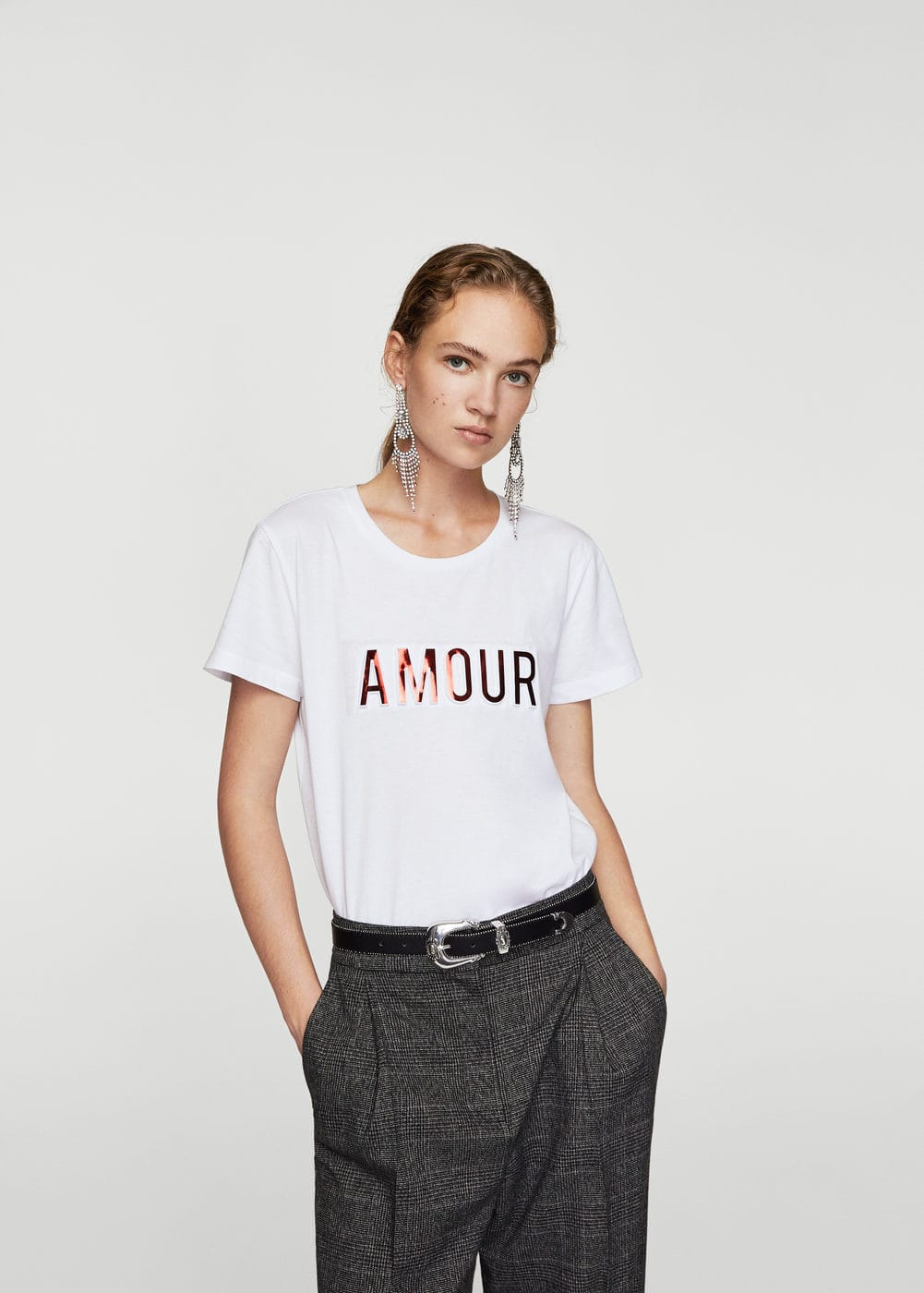 Embossed text t-shirt | MANGO
