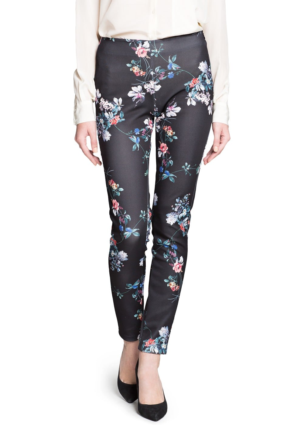 Neoprene-effect floral trousers | MANGO