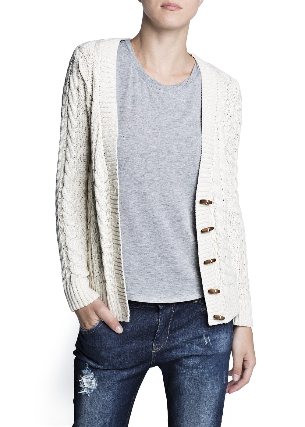 Cable-knit cotton cardigan | MANGO