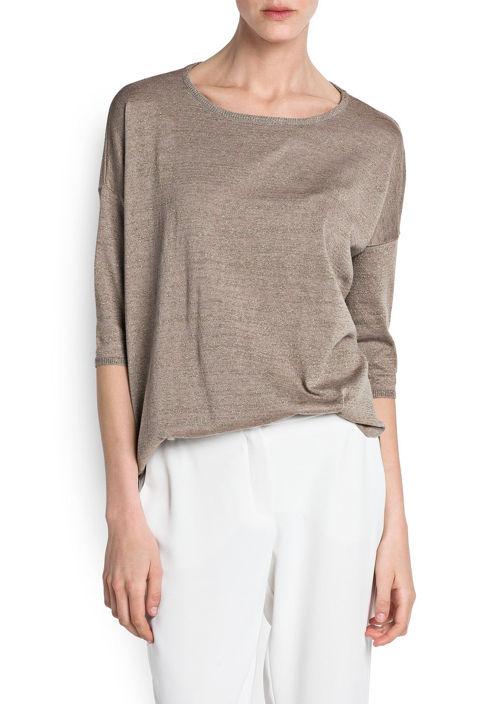 Metallic cotton-blend sweater | MANGO