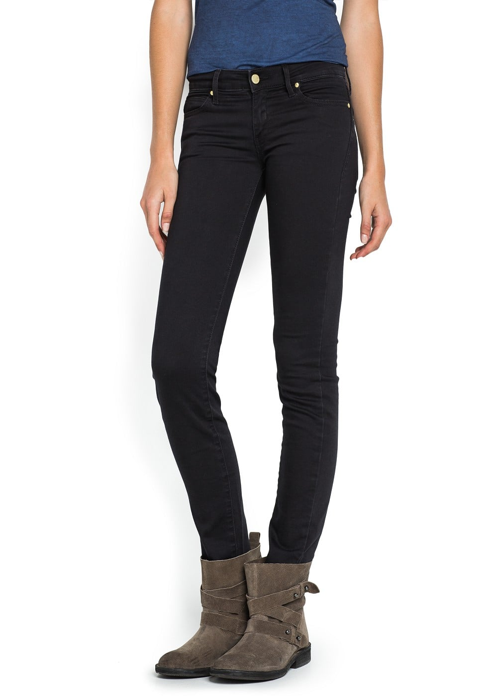 Super slim-fit black elektra jeans | MANGO