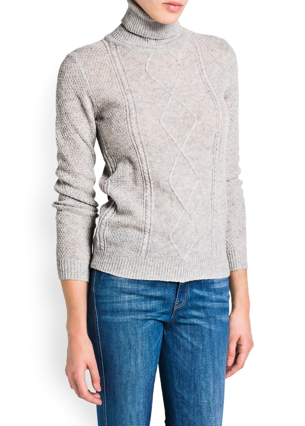 Cable-knit turtleneck sweater | MANGO