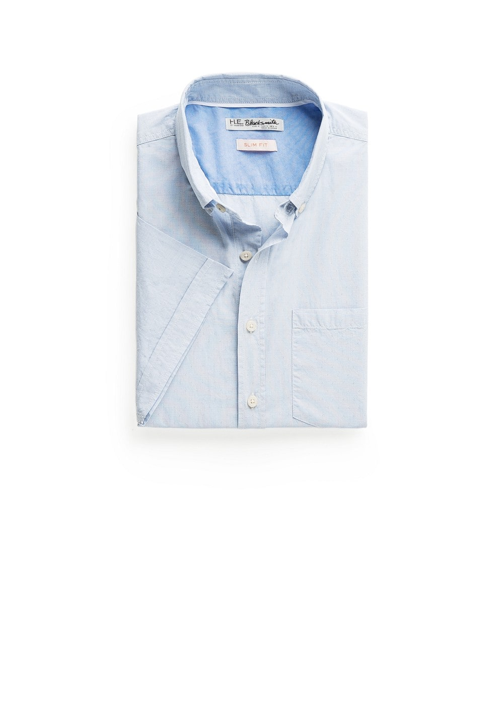 Slim-fit short sleeved end-on-end shirt | MANGO