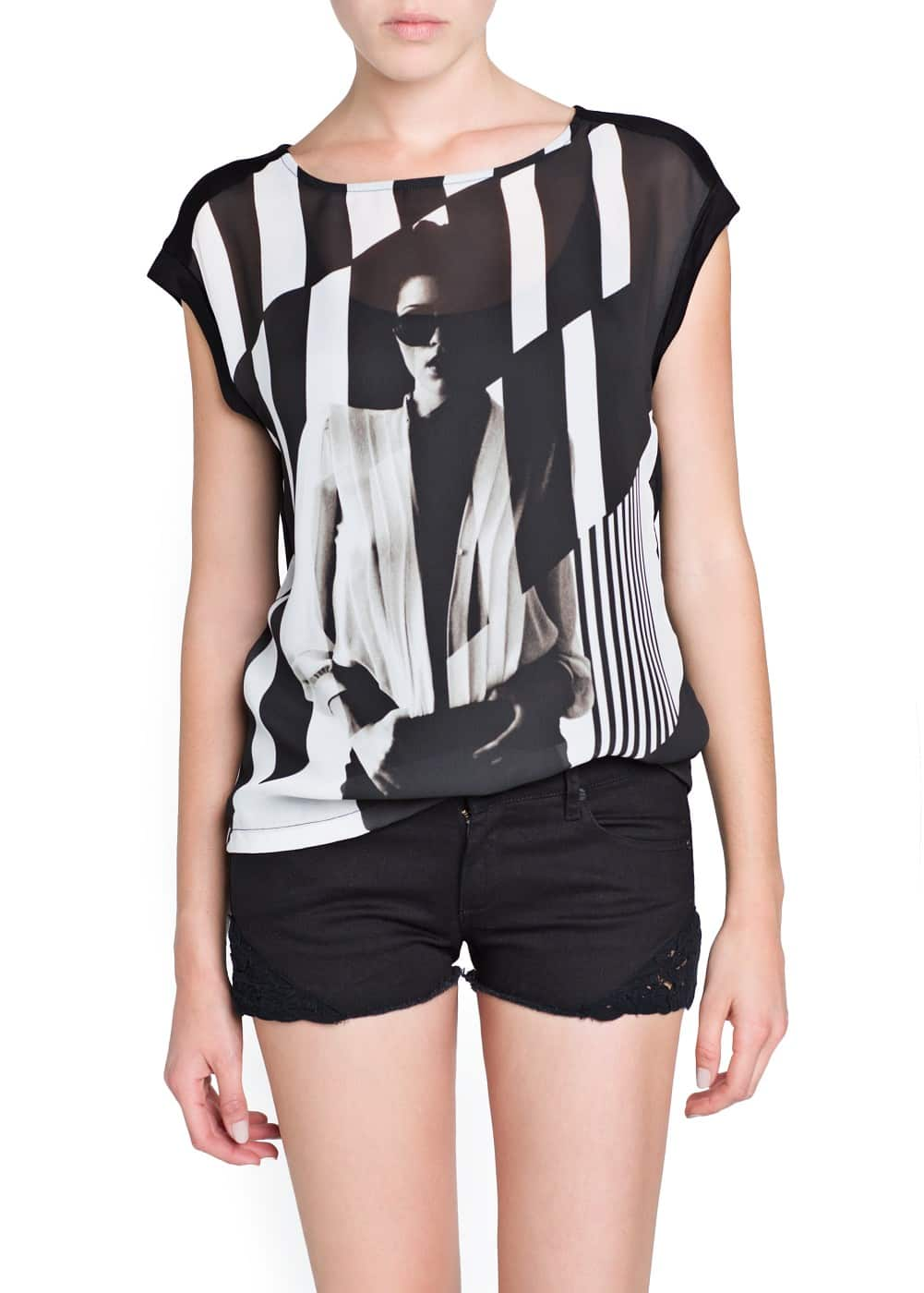 Black and white picture t-shirt | MANGO