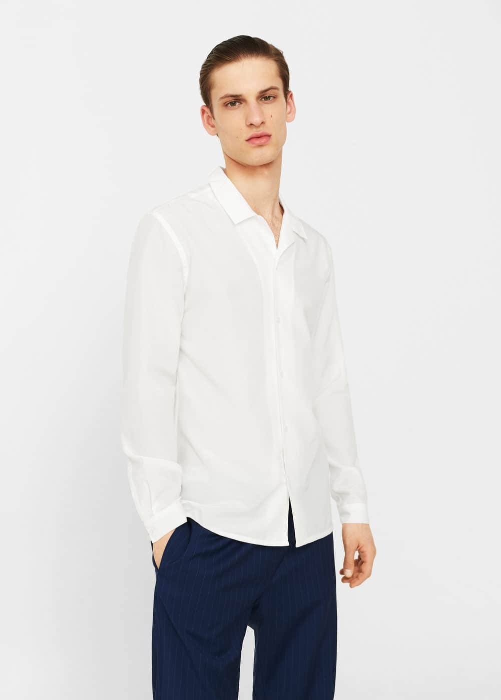 Cotton silk-blend regular-fit shirt | MANGO MAN