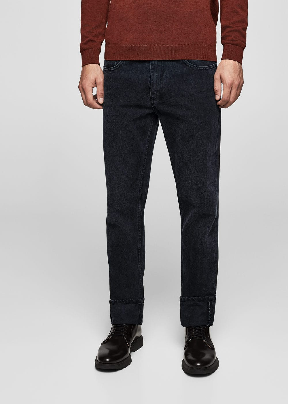 Straight-fit black bob jeans | MANGO MAN