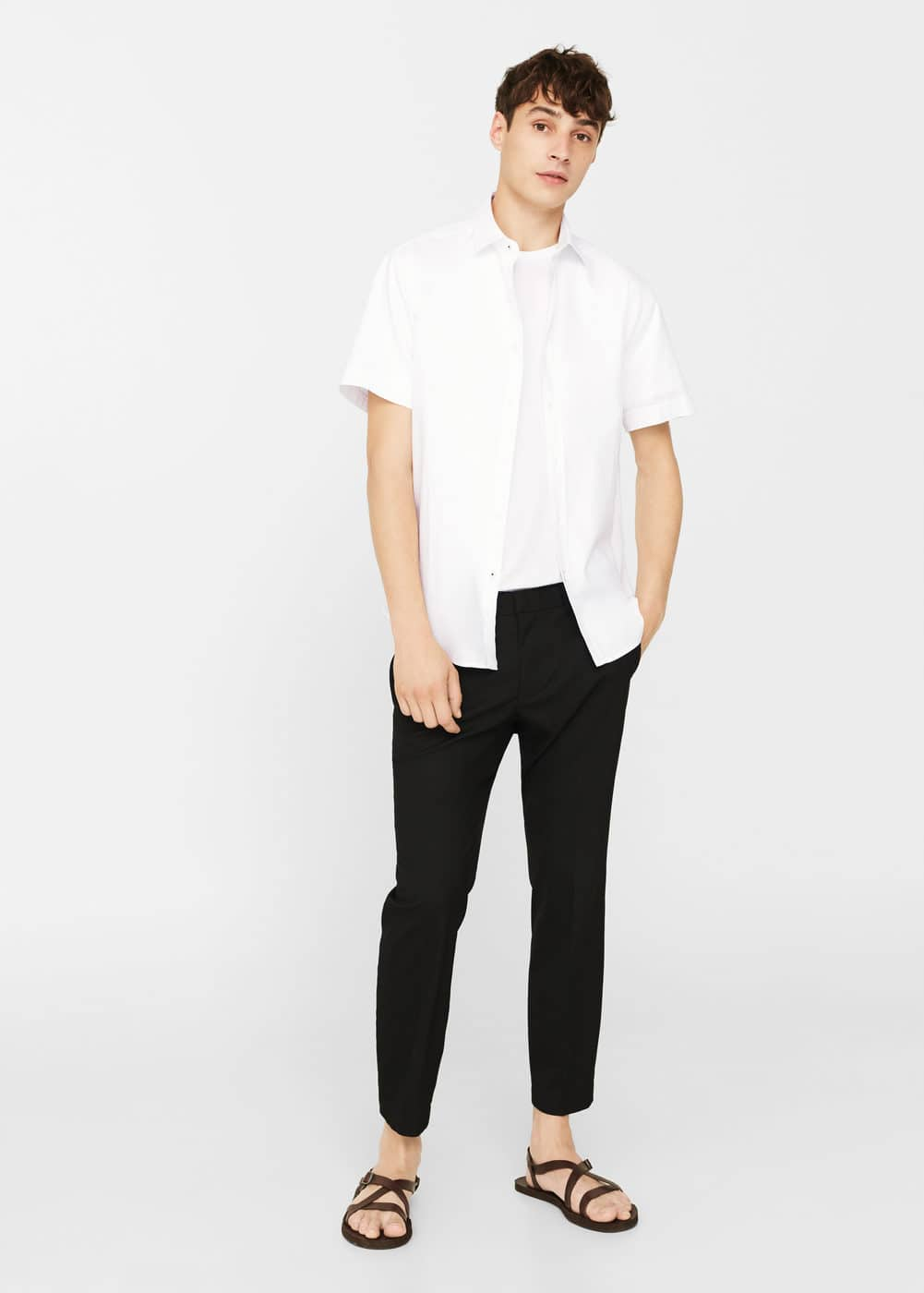 Slim-fit textured cotton shirt | MANGO MAN