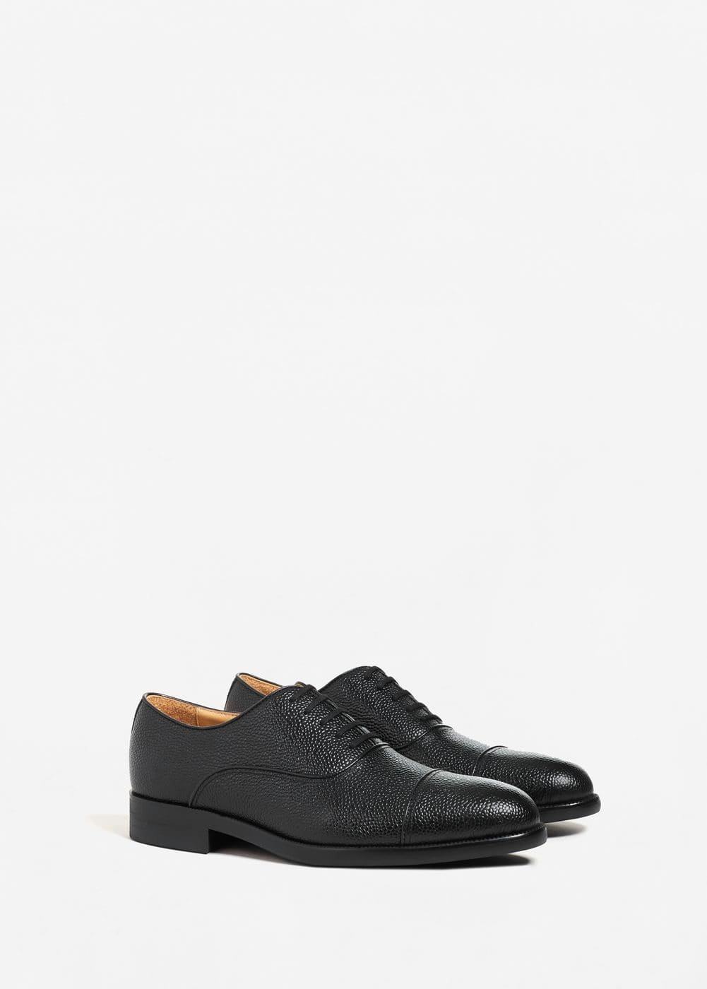 Pebbled leather oxford shoes | MANGO MAN