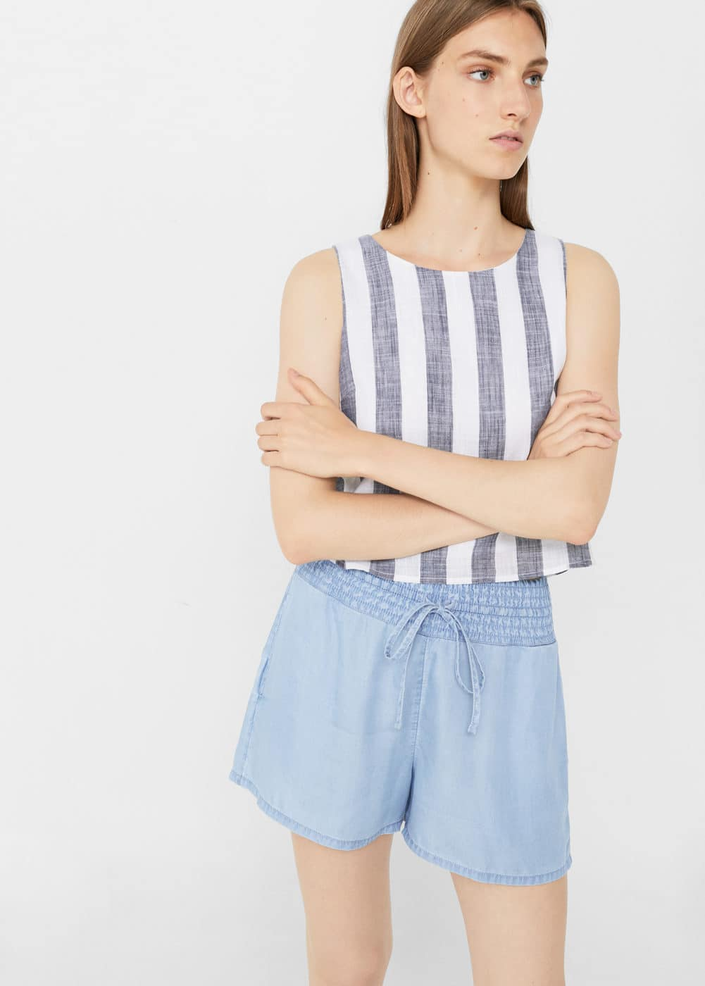 Ruched denim short | MANGO