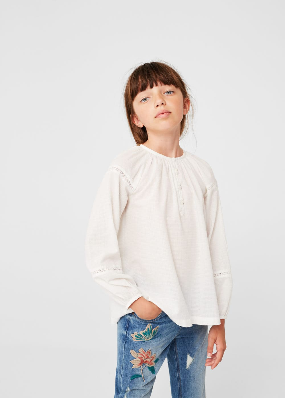 Openwork detail blouse | MANGO KIDS