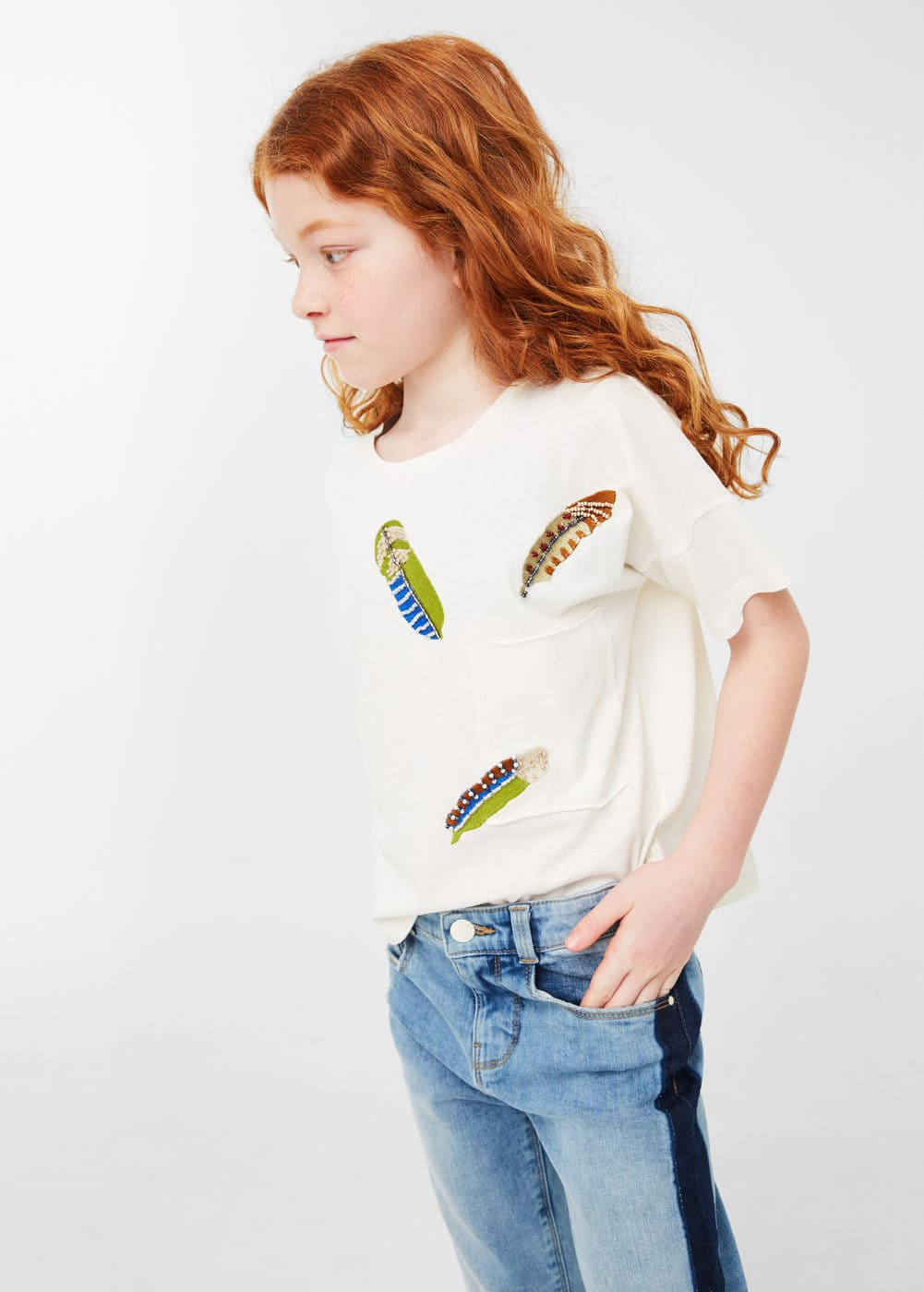 Feather t-shirt | MANGO