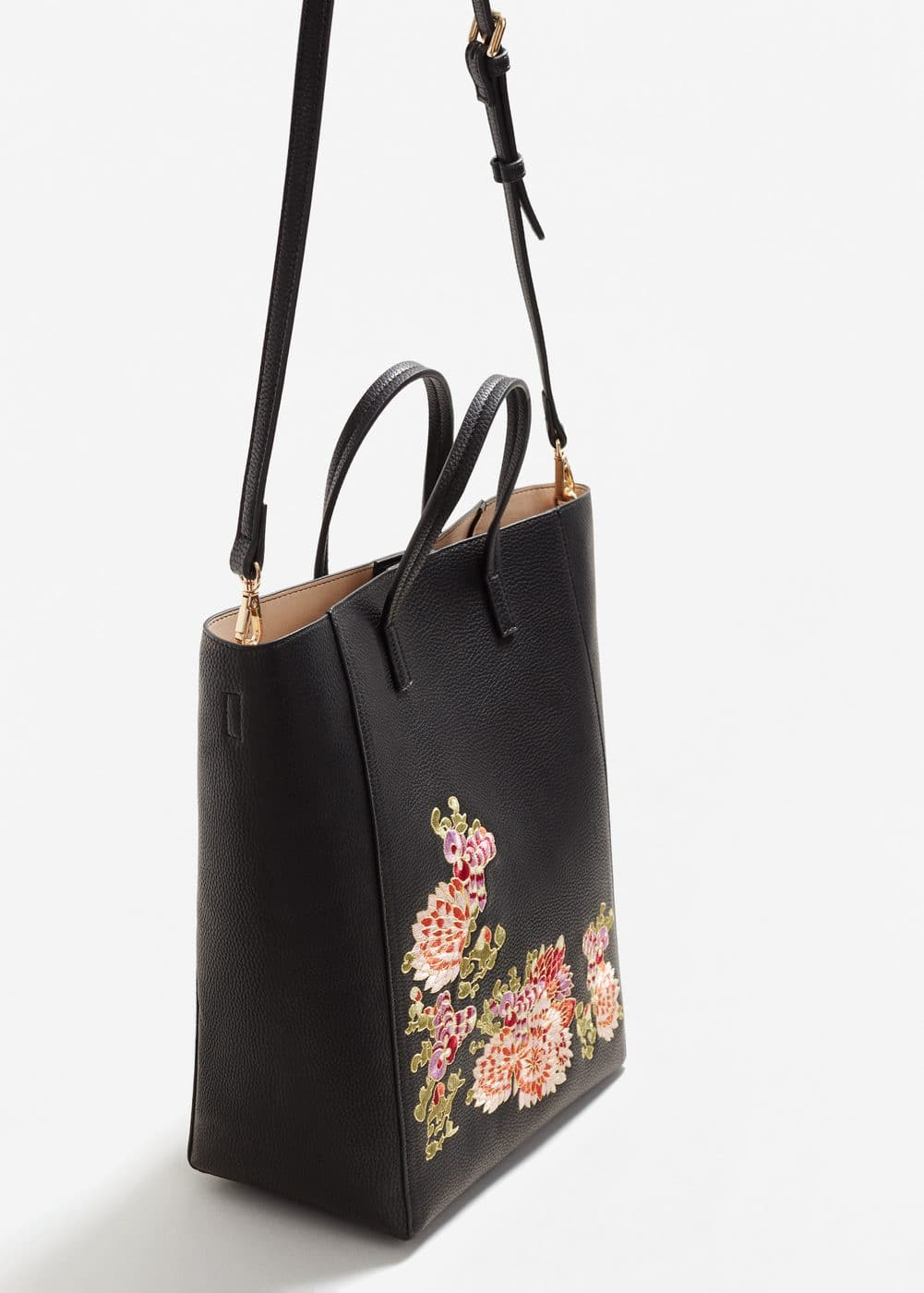 Shopper bag mit blumenstickerei | MANGO
