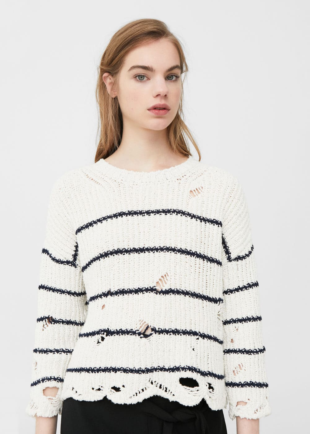 Ripped cotton sweater | MANGO