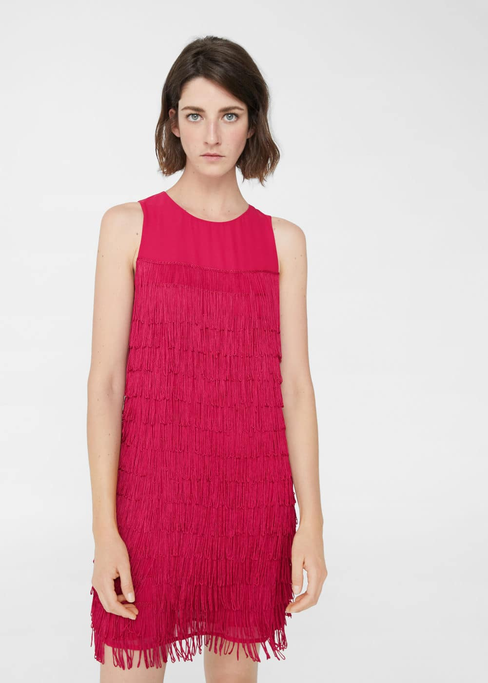 Flowy fringed dress | MANGO