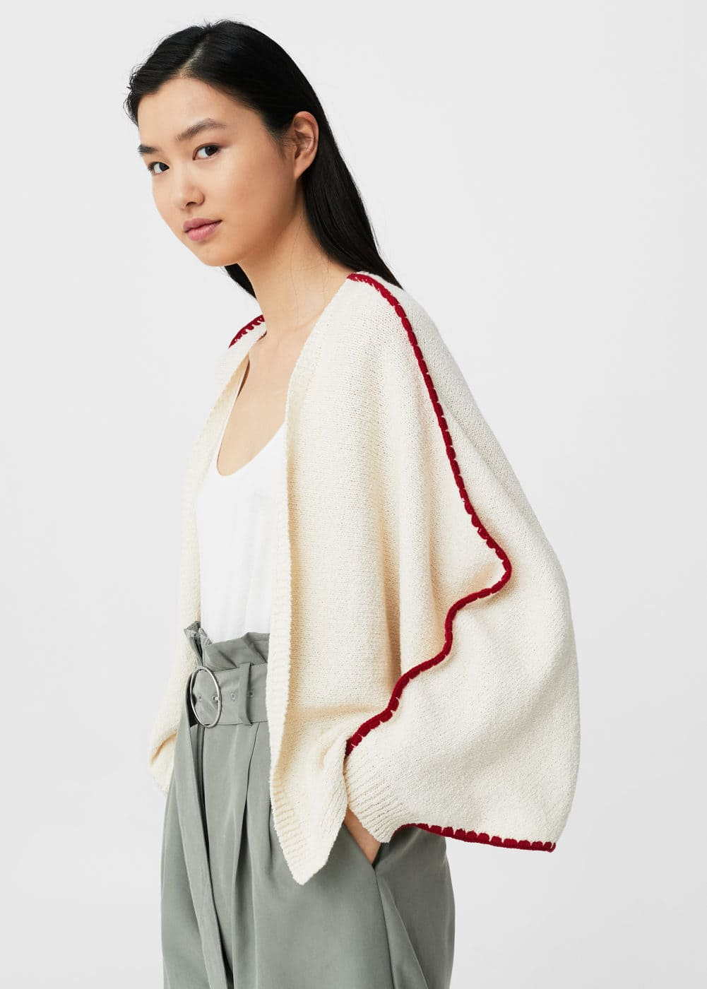 Contrast-trim cotton cardigan | MANGO
